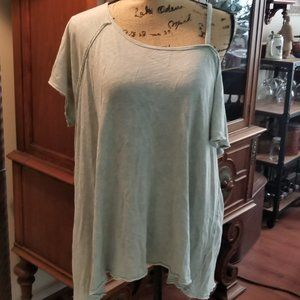 Free People moss green off the shoulder tee
